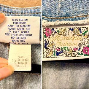 Vintage Pants & Jumpsuits - VTG Denim Romper Blue Jean Studded Western
